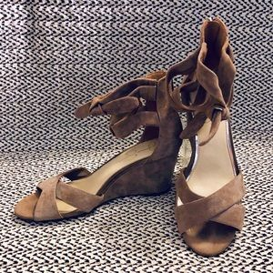 Jessica Simpson Ankle Strap Wedge Suede Sandals